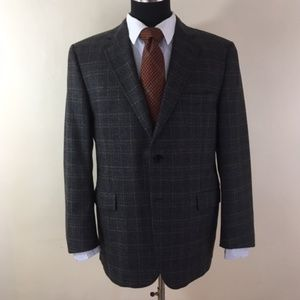 Burberry Plaid Wool & Cashmere Sports Coat 44 SHT